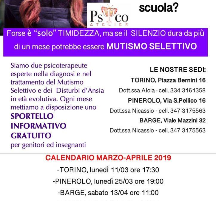 TORINO E PINEROLO: Sportelli Informativi gratuiti sul Mutismo Selettivo